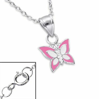 Genuine 925 Sterling Silver Pink & White Butterfly Girls Necklace & Pendant Cute