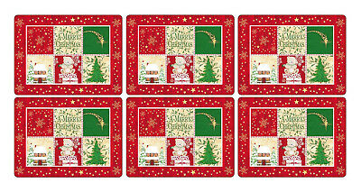 Pimpernel Christmas Blessing Placemats Set of 6 Cork Backed Tablemat Tableware