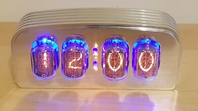 "Nixie Clock/Uhr - IN-12 Tubes/Röhren - Nixie ""FunKlock"" - Finned Case (Polished)"