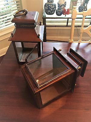 Pair Virginia Metalcrafters Colonial Williamsburg Rare Copper Carriage Lanterns