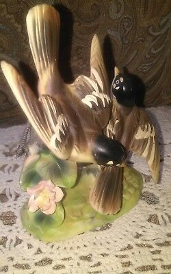 Vintage Porcelain Bisque Hand Painted Robins Figurine  Nasco Japan