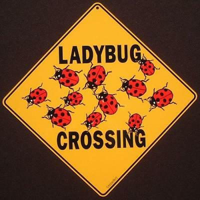 LADYBUG CROSSING SIGN aluminum novelty decor painting art home signs ladybugs