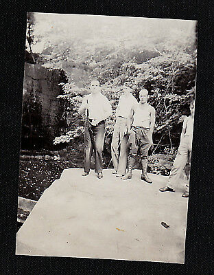 Old Vintage Antique Photograph Three Men Standing on Large Rock - Rifle / Gun