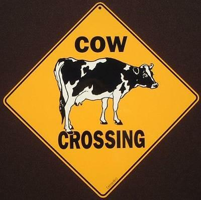 COW CROSSING SIGN aluminum art farm decor cows dairy novelty animals home signs