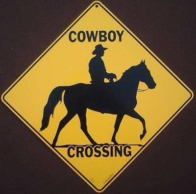 COWBOY CROSSING Sign aluminum silhoutte picture horses decor novelty home