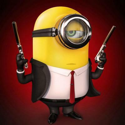 Minion With Two Guns Suit & Tie Bathroom Shower Curtain Polyester Hooks