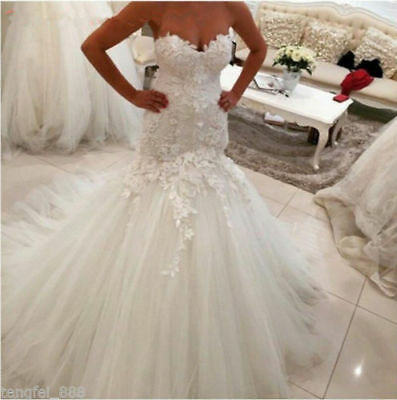 Sweetheart Wedding Dress White/Ivory Lace Applique Bridal Gown Custom all Size