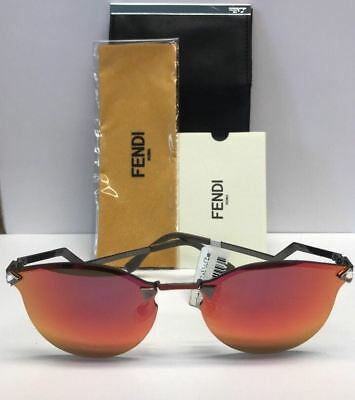 a02feee49a1 FENDI FF 0040 S CEMUZ Red Mirrored Rimless Sunglasses Italy Authentic COA  CASE