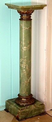"""42"""" Tall Neo Classical Victorian 19Th C. Carved Alabaster & Gilt Heavy Pedestal."""