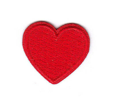 """1"""" SMALL RED HEART - LOVE - VALENTINE'S DAY - - Iron On Embroidered Patch"""