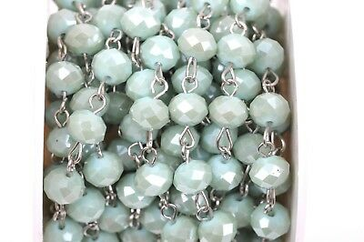 1yd MINT GREEN Crystal Rondelle Rosary Chain, silver, 8mm beads fch0353a