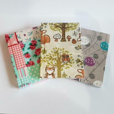 A7 Fabric Covered Notebook Journal Lined Book Woodland Forest Patchwork Buttons