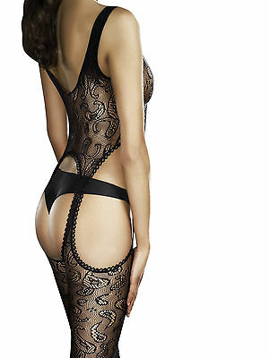 Fiore Obsession Venus Fishnet Bodystocking Open Suspender Style Paisley Pattern