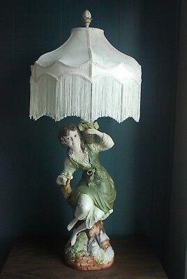 "Vtg 1964 Azzolin Brothers Capodimonte Large Figural 42"" Lamp Italy - Will Ship"