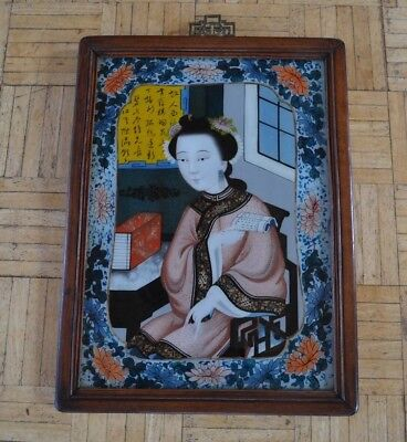 Chinese Reverse on Glass Geisha Woman Painting Circa 1900