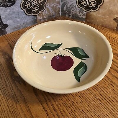 "Watt Oven Ware #39 Rf Spaghetti Bowl 13 1/4""  Apple  & Leaf Design -  3 Leaves"