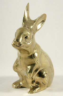 "Vintage Brass Rabbit Bunny Statue / 5 1/2"" Tall / Stylized Detail"