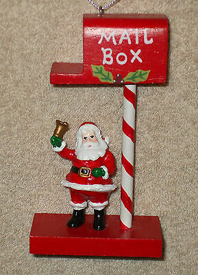 Painted Wood MAILBOX WITH SANTA Christmas Ornament - NEW