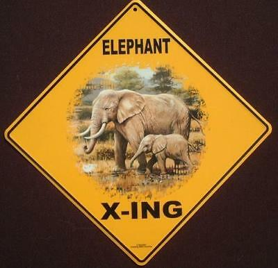 ELEPHANT X-ING Sign aluminum print picture decor novelty signs home wildlife
