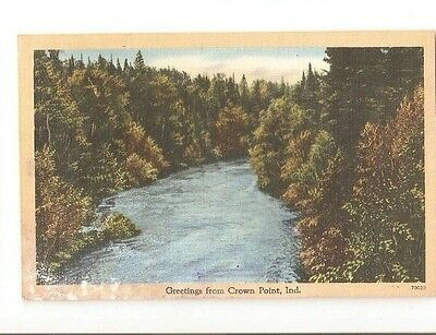 Vintage Postcard Greetings From Crown Point Ind In Indiana 1950