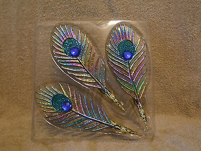 3 Acrylic JEWELED PEACOCK FEATHER Clip Christmas Ornaments - NEW