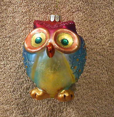Jeweled Glass BLUE & PINK OWL Christmas Ornament - NEW