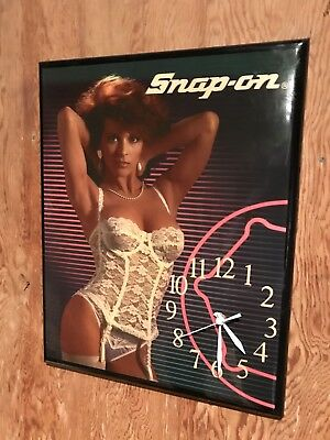Vintage Snap-On Pin Up Girl Lingerie Wood Wall Clock Snap on - FREE SHIPPING!!!