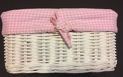 Pottery Barn Kids Small Sabrina Basket Pink And White Gingham Liner Only! EUC