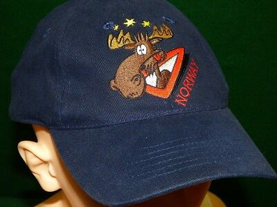 Unique, One-Size-Fits-Most Norway Bullwinkle Moose Baseball Cap Hat + Free Ship!