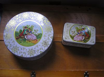 Vintage Lot of 2 Cream w Gilt & Victorian Couple Metal Tin Cookie Candy Contain