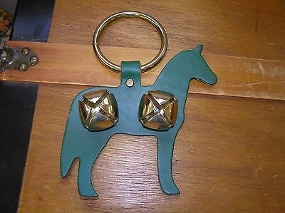 Vintage Green Leather Horse Silhouette w Brass Ring & Jingle Bells Door Hanger