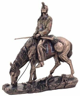 9.5 Inch Blackfeet Indian & Horse Statue Native Figurine American Warrior Indio