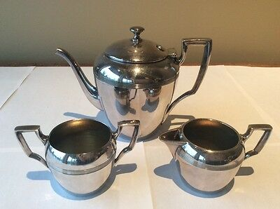 "~Three Piece Tea Set Marlboro Plated Silver  | Stamped ""benedict Canada Proctor"""