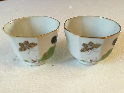 Pair of Antique Chinese Small Famille Cups