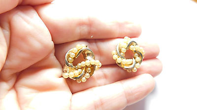 Vintage Signed Barclay Gold Tn Metal  Off White Faux Pearl Knot Clip On Earrings