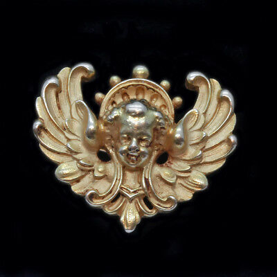 Antique Victorian Brooch Wiese 18k Gold French Head of Angel Signed WIESE (#6371