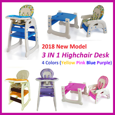 3 in 1 Baby High Chair Desk Convertible Play Table Conversion Seat -- 4 Colours