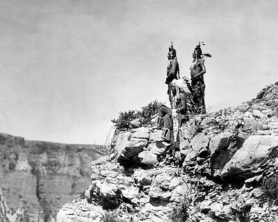 Three Crow Indians Watching Signal 8x10 Photo Historical Reproduction 1905
