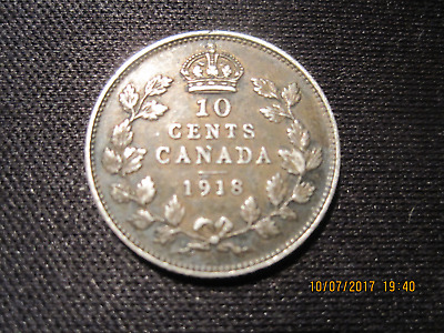 1918 Canadian 10 Cents Coin (AU)