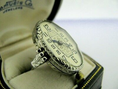 RARE Antique ART DECO ca 1920s BELAIS 18K White Gold RING WATCH BULOVA REPAIR