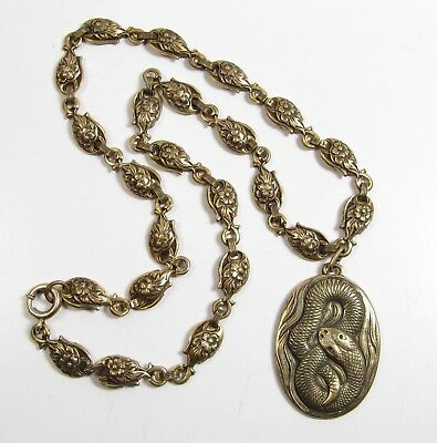 Antique Victorian Ornate Brass Snake Necklace Coiled Serpent Fancy Floral Chain