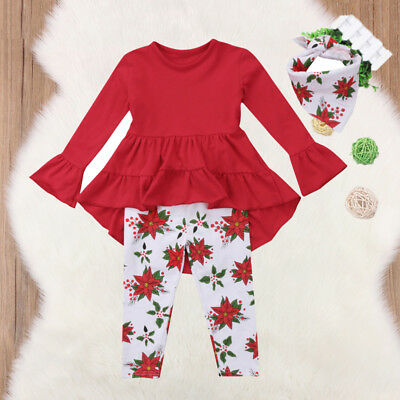 US Toddler Baby Girls Clothes Outfit Dress Top+Legging Pants Floral Clothes Set