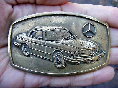 Vtg MERCEDES-BENZ 450 Belt Buckle 1978 Baron CAR Daimler German Brass RARE VG+