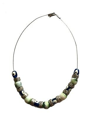 Silver like beads and blue glass eyes with spring ring clasp necklace