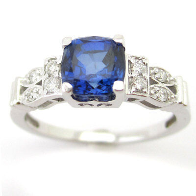 Antique Style Cushion Cut Sapphire With Round Diamonds Engagement Ring