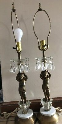 Vtg Antique Cupid Cherub  Gold Brass Large Marble Base Electric Table Lamp Works