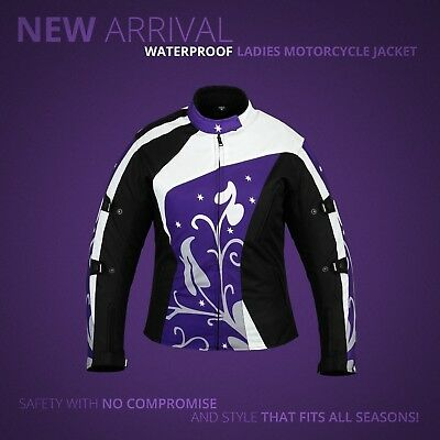 New Ladies Womens Textile Waterproof Motorbike Motorcycle Jacket Coat Ce Armour