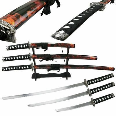 3 Piece Japanese Samurai Katana Sword Carbon Steel Blades with Stand Good Sword!