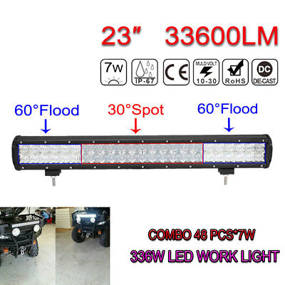 23Inch 33600LM 336W OSRAM LED 5D Bar Combo Beam Car Trunk SUV Work Light Offroad