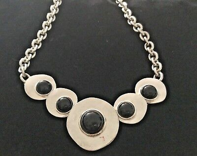 Vintage MJ Carroll 1980s Hammered Brushed Silver  & Black Onyx Necklace & Earrin